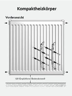 Buderus Kompaktheizk/örper Typ 11 H/öhe 600 x L/änge 500 mit Halter und Stopfen