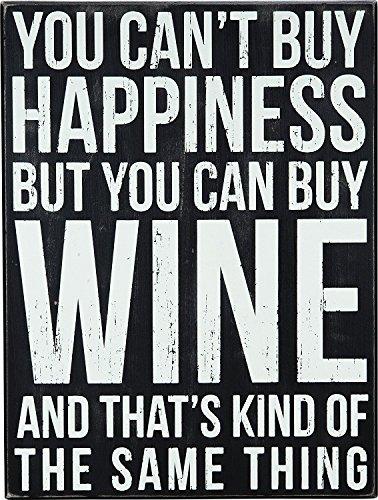 Primitives by Kathy Trinkschürze Shabby Chic Box Sign Wine & Happiness (Primitive Bilderrahmen)
