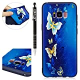 Custodia Samsung Galaxy S8 Plus, Samsung Galaxy S8 Plus Cover Silicone, SainCat Custodia in Morbida TPU Protettiva Cover per Samsung Galaxy S8 Plus, 3D Silicone Case Ultra Slim Sottile Morbida Transparent TPU Gel Cover Case Shock-Absorption Anti Scivolo Custodia Protettiva Crystal Clear Cover Gomma Case Caso Trasparente Sottile Ultra Thin Slim Protettiva Anti-scratch Skin Shell Case Coperture Bumper Cover per Samsung Galaxy S8 Plus-Oro Farfalla immagine