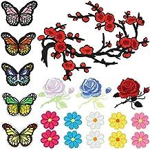 Satkago Bordados Parches para Ropa, 19Pcs DIY Diseño Rosa Flores y Mariposa Coser Parches Termoadhesivos Apliques para la Camiseta Jeans Sombrero Pantalon Bolsas