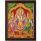 Lalitha Photo Frame Works Synthetic Wood Lord Subramanya Murugan Valli Devasena Religious God Photo Frame (Multicolour)