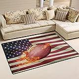 Use7 Anti-Rutsch-Fußmatte mit American Football Ball Sport für Kinderzimmer, Wohnzimmer und Schlafzimmer, Textil, Mehrfarbig, 100 x 150 cm(3' x 5' ft)
