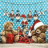 YongFoto 2x2m Foto Hintergrund Weihnachtsmützen Teddybär Geschenke Weihnachtsmann Pferdefiguren Holzboden Weiße Punkte Blaue Wand Fotografie Hintergrund Backdrop Fotostudio Hintergründe Requisiten
