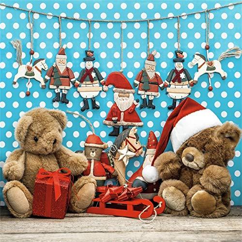 (YongFoto 1,5x1,5m Foto Hintergrund Weihnachtsmützen Teddybär Geschenke Weihnachtsmann Pferdefiguren Holzboden Weiße Punkte Blaue Wand Fotografie Hintergrund Backdrop Fotostudio Hintergründe Requisiten)