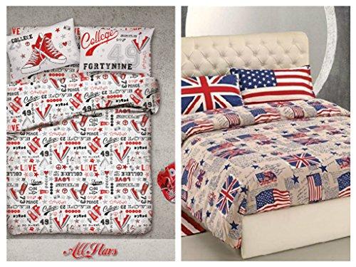 Der zweite Artikel das zahlt die Meta '. 2komplette Bettwäsche einzelnen–All Stars + Flaggen–Idee Geschenk–Produkt Italienisch–Made in Italy