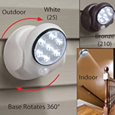 EKRON Wireless Cordless Motion Activated Sensor 7-LED 360 Adjustable Light for Indoor/Outdoor Garden Wall Shed Cupboard, Standard (White)