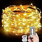 MORECOO Lichterkette Außen, 10M 100 LEDs Lichterkette Batterienbetrieben für Party, Karneval, Weihnachten, Outdoor, Fest usw. (Warm Weiß)