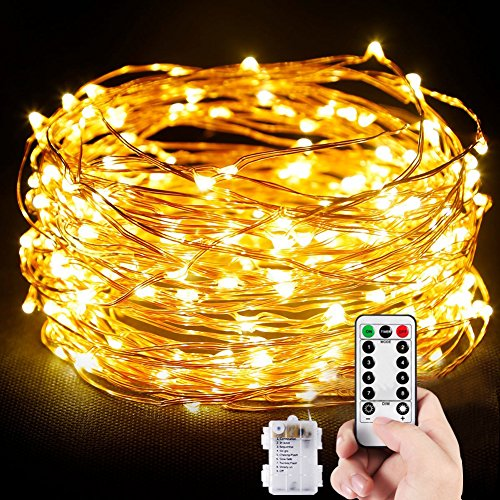 Außen, 10M 100 LEDs Lichterkette Batterienbetrieben für Party, Karneval, Weihnachten, Outdoor, Fest usw. (Warm Weiß) (Led Party Supplies)
