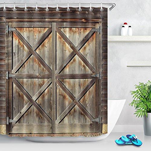 LB Personalizar Estilo de puerta de madera Cortina de la ducha,Impermeable Resistente al moho Tejido de poliéster Cortinas de baño para baño, 180X180cm, 12 anillos