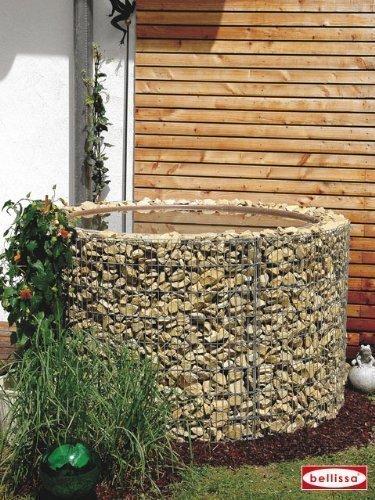 Wasserfass 750l Gabione Gabionen Regenfass Regentonne Ø 130/110 cm H 80 cm