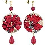 in Lebole Collezione The Cirlce DPOR09 Fiore Rosso Orecchini da Donna in Ottone Pietra Rubino