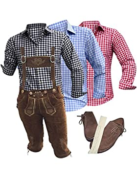 Trachtensets Trachtenouftit Lederhose+Hemd+Schuhe+Träger+Strümpfe Braun Echt Leder Herren Oktoberfest Outfit