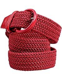 ALAIX - Cinturón elástico ajustable para mujer u hombre, 35 mm, diseño trenzado