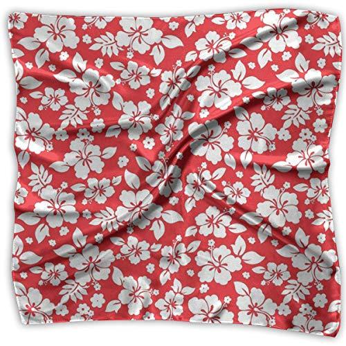 Quadratischer Satin-Schal, Hibiskus-Muster, seidenähnliches leichtes Bandanas, Kopftuch