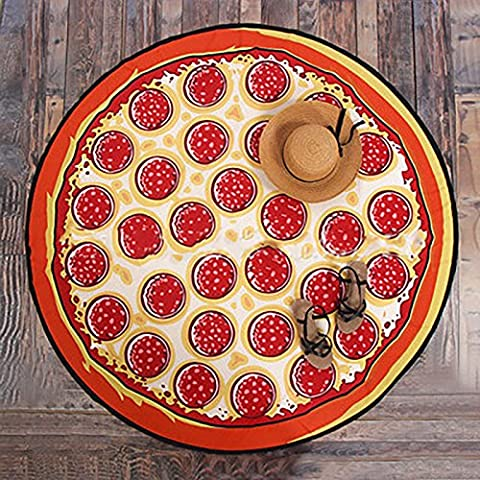 LanLan Outdoor Summer Microfiber Round Beach Towel Style Food Fruit Beach Mat Blanket Bath Swimming Towels pizza Super soft fiber (140