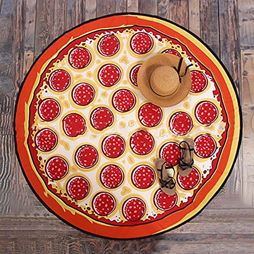 Lanlan Outdoor Sommer Mikrofaser rund Strandtuch Stil Lebensmittel Fruit Strand Matte Decke Bad Handtücher, style:9 pizza