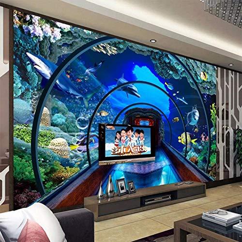 Yirenfeng Adesivi Murali Autoadesivi Per Carta Da Parati Mondo Subacqueo Acquario 3D Stereo Sfondo Muro Dipinto Video Rivestimento Murale-250X175CM