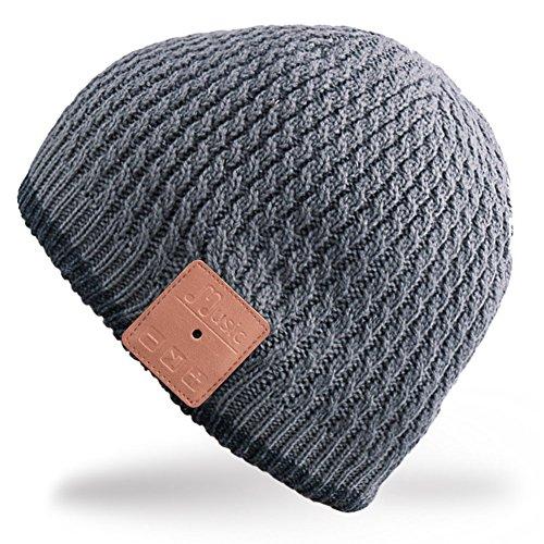 Rotibox Invierno de moda de Bluetooth Beanie Hat Doble casquillo de música de punto con auriculares inalámbricos Auriculares Auriculares de eliminación de micrófonos Mic manos libres para correr Patinaje de esquí de senderismo, regalos de Navidad   Gris