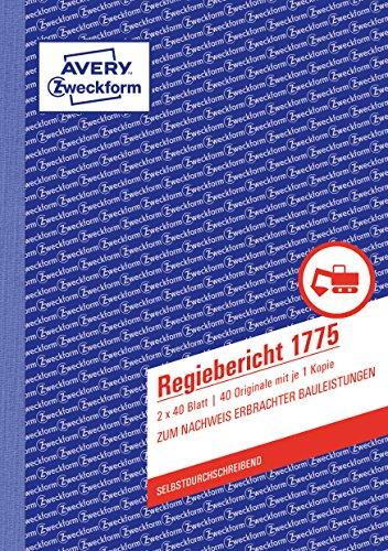 AVERY Zweckform 1775 Regiebericht (A5, selbstdurchschreibend, 2x40 Blatt) weiß/gelb