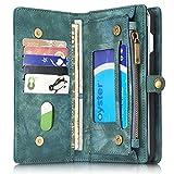 INFLATION iPhone/Samsung Leder Handytasche Case Hülle Geldbörse mit Kartenfach abnehmbar Magnet Handy Schutzhülle für Samsung Galaxy S7 Edge in Blau