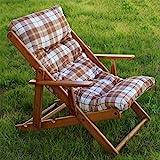 Relaxsessel/Liegestuhl aus Holz, mit 3 Positionen, zusammenklappbar, mit gepolsterten Kissen, 100 cm, für Wohnzimmer, Küche, als Sofa, Sessel, Couch braun