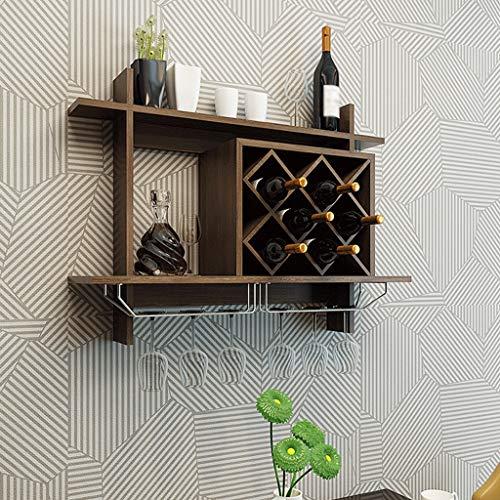 Wine Rack - Europäische Art-Wand-Berg-Weinregal-Suspendierungs-Gitter-Regal-Wand-kreativer Schaukasten Felice Home (Farbe : Black Walnut, größe : 80×20×58.5cm) (- Europäischer Wand-berg)