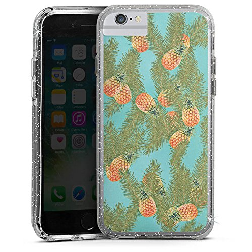 Apple iPhone 6s Bumper Hülle Bumper Case Glitzer Hülle Pineapple Ananas Muster Bumper Case Glitzer silber