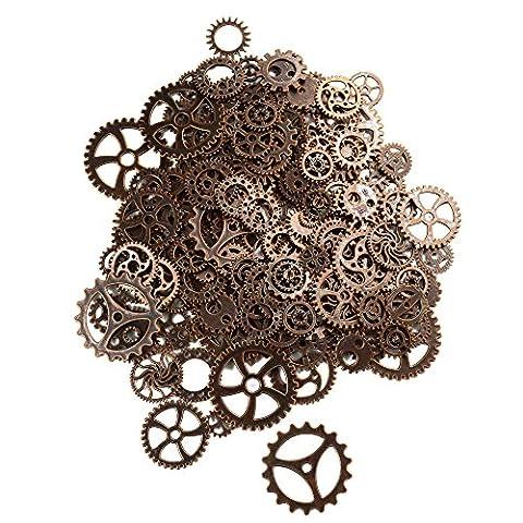 makhry 150Gramm sortiert Vintage Bronze Metall Steampunk-Schmuck zu Charms Cog Armbanduhr Rad für,, Cosplay Halloween Dekoration kupfer