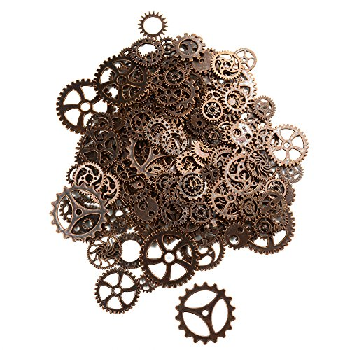 150 Gramm Sortierte Vintage Bronze Metall Steampunk Schmuck Machen Charms Cog Watch Wheel zum Crafting, Cosplay Halloween Dekoration