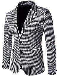 e0c9d9b47dc5 Vertvie Homme Slim Fit Veste Blazer Élégant à Carreaux Pied-de-Poule  Costume Manteau