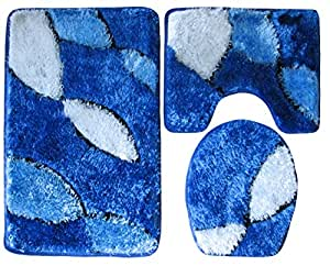 3 teilig badgarnitur blau dunkelblau wei hochflor mit glitter badset badematten badteppich. Black Bedroom Furniture Sets. Home Design Ideas
