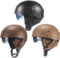 Oldtimer Motorradhelm Retro Oldtimer Helm mit Leder bezogen Größe 56-61cm
