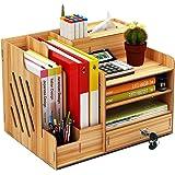 Organiseur de bureau en bois, grande capacité de stockage - Idéal pour les fournitures de bureau, le rangement de fichiers et