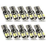 Safego 10x Bombillas T10 W5W Wedge LED 8SMD 5630 Luz Interior del Coche Laterales Blanco Xenon 194 168 6500K 12V