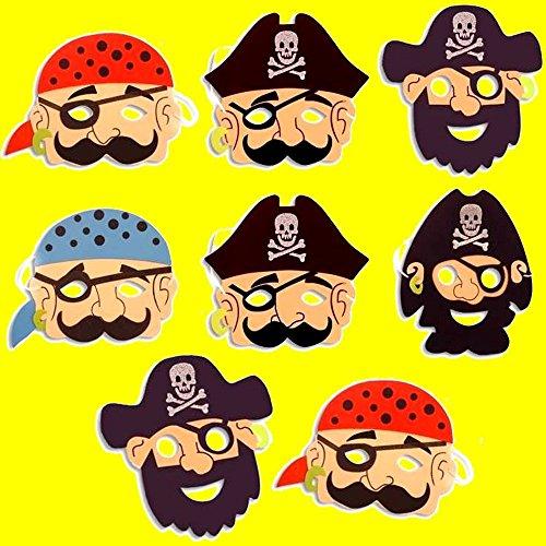 German Trendseller® -8 x Piraten Masken aus Schaumstoff ┃ für Kinder ┃ Piraten Party ┃ Ideal zum Kindergeburtstag und Karneval