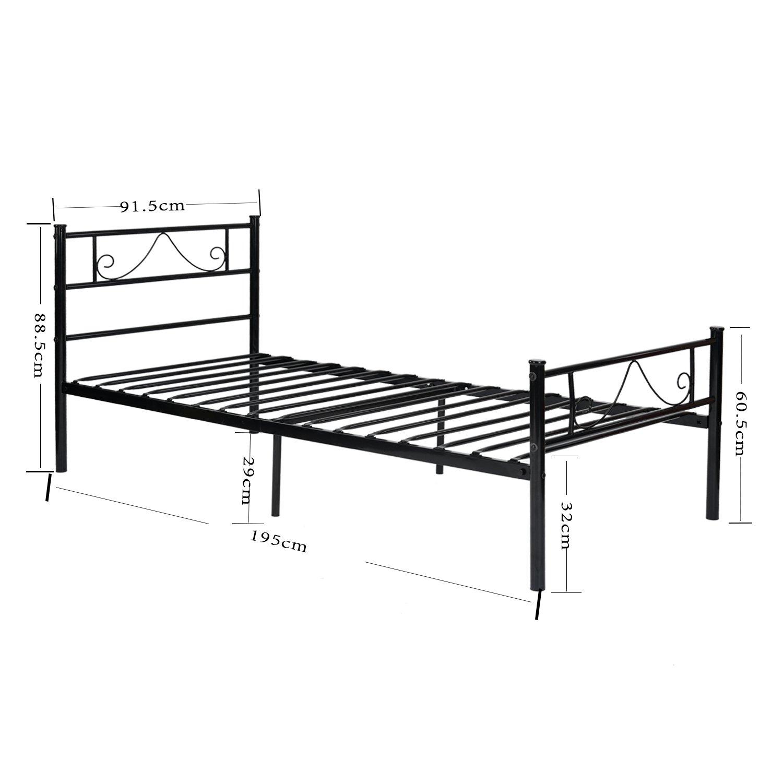 Gästebett Einzelbett Metallbett Metall Rahmen Bett Jugendbett ...