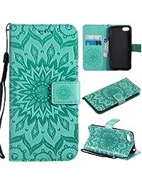 WindTeco Huawei Y5 2018 Funda, Emboss Pattern de Flor de Mandala Cartera Flip de Piel PU Libro Billetera con Función de Soporte y Ranuras de Tarjeta para Huawei Y5 2018