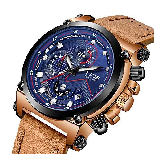LIGE Uhren Herren Chronograph Wasserdicht Analog Quarzuhr Lederband 9856C Blau Braun