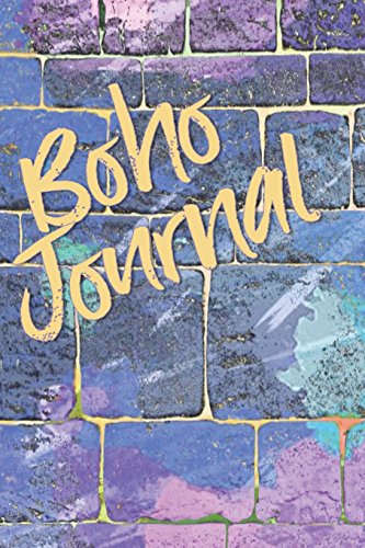 Boho Journal: 140 Lined Pages Softcover Notes Diary, Creative Writing, Class Notes, Composition Notebook - Blue Purple Wall Graffiti