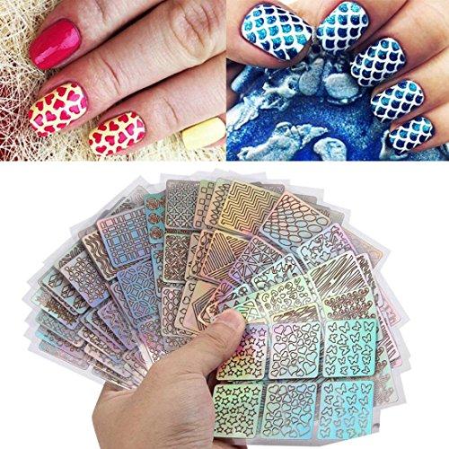 Ouneed® 24 mode Nail Art Pochoirs Ongle Decorations DIY Set