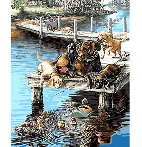 Schöne Haustier Malerei Naive Angeln Hund Geschenk Für Kinder Digitales Ölgemälde Wohnkultur Wandkunst Für Wohnzimmer Zeichnung by Zahlen 16X20 Zoll Kein Rahmen -