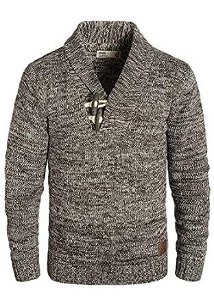 Bild nicht verfügbar. Keine Abbildung vorhanden für. Farbe: SOLID Prospero  Herren Strickpullover Schalkragen aus 100% Baumwolle Meliert ...