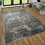 Paco Home Wohnzimmer Teppich Im Vintage Used Look, Industrial Style Kurzflor in Rostfarben, Grösse:160x220 cm, Farbe:Grau
