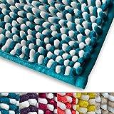 Chenille Badematte Manta | moderner Microfaser Badvorleger in Trendfarben | ÖKO TEX Standard 100 | extra hoch | Komfortgröße 50x80 cm für Badezimmer | Türkis - Weiß