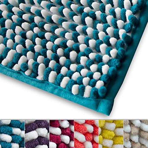 Chenille Badematte Manta | moderner Microfaser Badvorleger in Trendfarben | ÖKO TEX Standard 100 | extra hoch | Komfortgröße 50x80 cm für Badezimmer | Türkis - Weiß (Blau Gelb Bad-teppich)