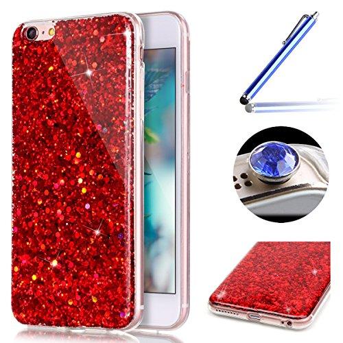 Etsue für iPhone 6S/iPhone 6 Transparent Weiche Silikon Schutzhülle, Ultradünnen Crystal Clear Transparent Zurück Etui Kratzfeste TPU Bumper Case Handyhülle für iPhone 6S/iPhone 6 + 1x Glitzer Staub S Glänzend,Rot