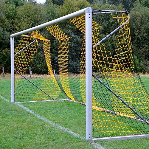 Fußballtornetz 7,5 x 2,5 m Tiefe oben 0,80 / unten 1,50 m, zweifarbig, PP 4 mm ø, schwarz / gelb