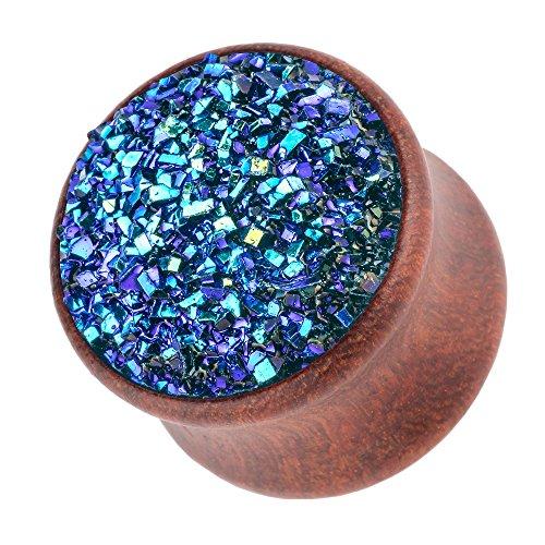 Piercingfaktor Ohr Plug Flesh Tunnel Piercing Ohrpiercing Holz Organic Braun mit Kristall Glitter 12mm Blau