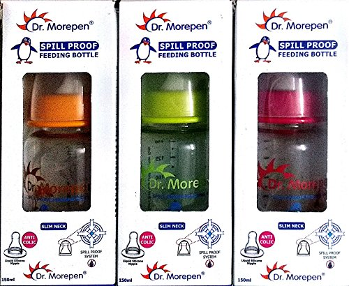 Dr. Morepen Spill Proof Anti Colic Nipple Combo Pack of 3 Feeding Bottles, 150ml each (with Bottle Feeding tips by Kapro)
