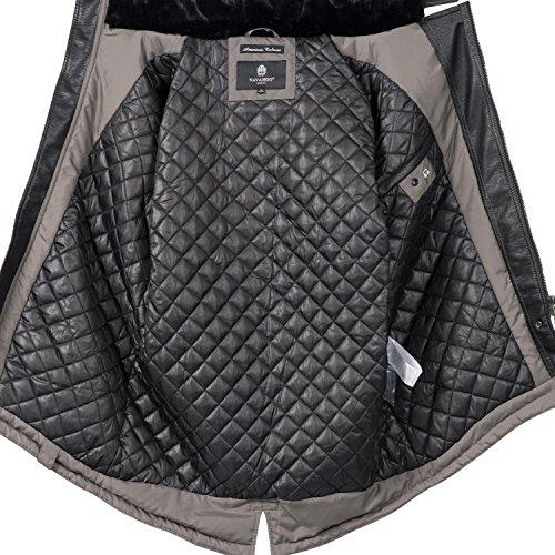Navahoo Herren Übergangsjacke Mantel Parka mit Kunstleder-Ärmeln Shinook (vegan hergestellt) 5 Farben S-3XL Grau